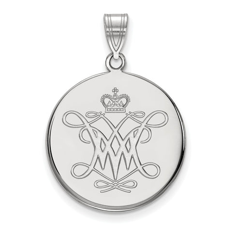 Sterling Silver LogoArt William And Mary Large Disc Pendant