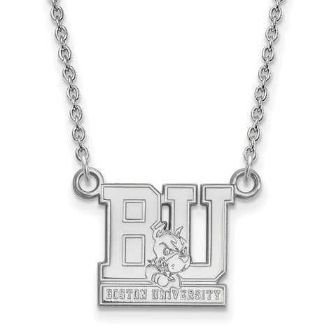 Sterling Silver LogoArt Boston University Small Pendant w/Necklace