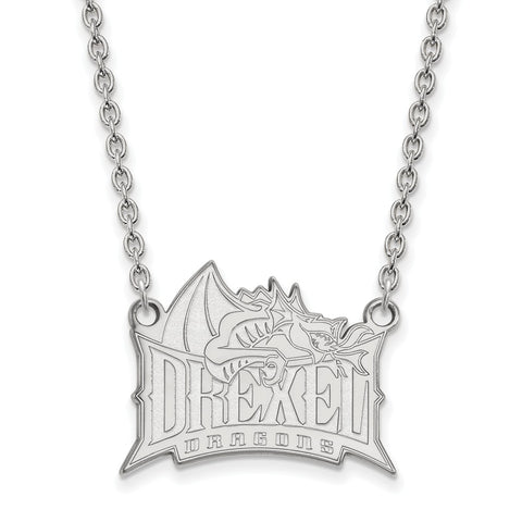 Sterling Silver LogoArt Drexel University Large Pendant w/Necklace