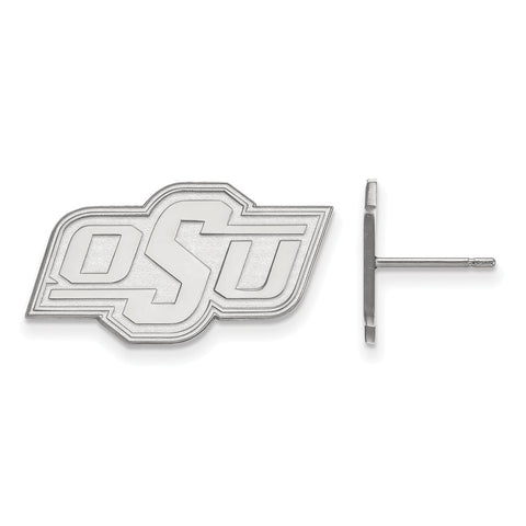 10k White Gold Logoart Oklahoma State University Cowboys Small Post Earrings