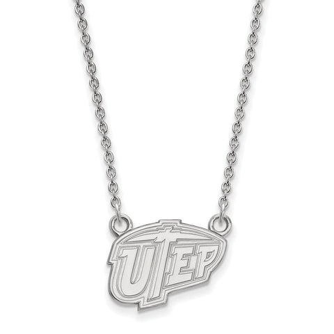 Sterling Silver LogoArt The U of Texas at El Paso Small Pendant w/Necklace
