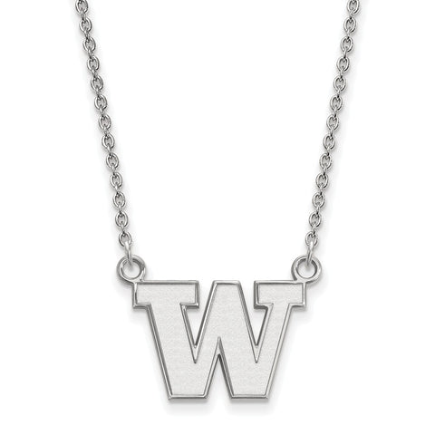 Sterling Silver LogoArt University of Washington Small Pendant w/Necklace