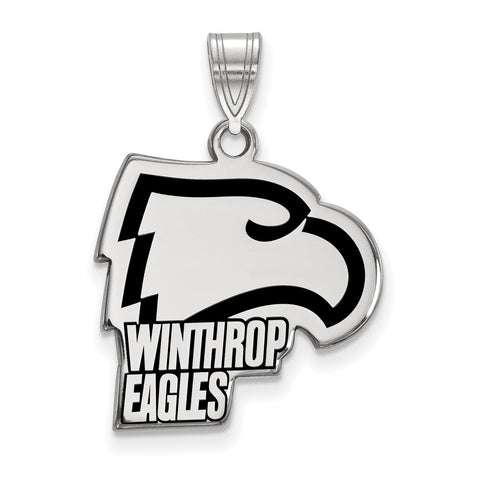Sterling Silver LogoArt Winthrop University Large Enamel Pendant