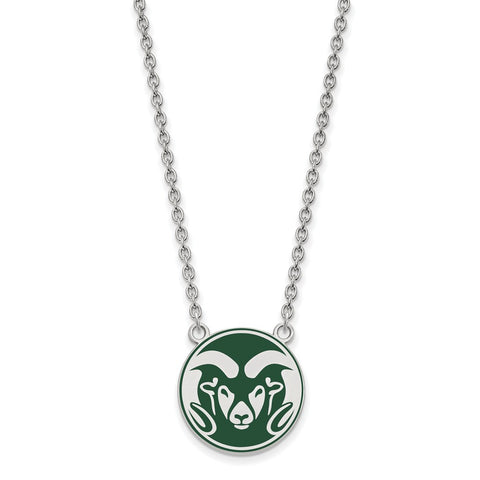 Sterling Silver LogoArt Colorado State U Enamel Large Pendant w/Necklace