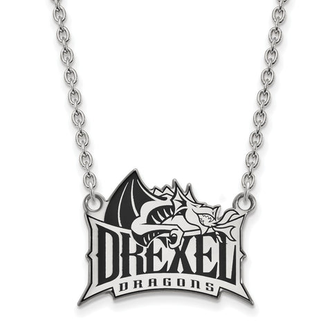 Sterling Silver LogoArt Drexel University Enamel Large Pendant w/Necklace