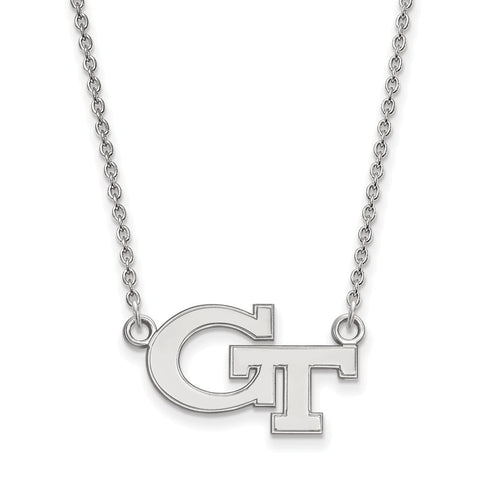 Sterling Silver LogoArt Georgia Institute of Tech Sm Pendant w/Necklace