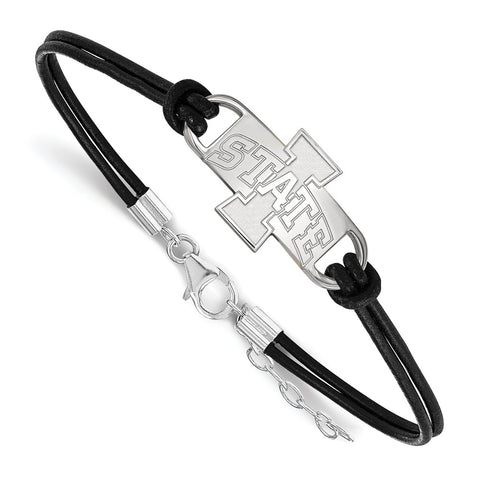 Sterling Silver LogoArt Iowa State University Medium Center Leather Bracele
