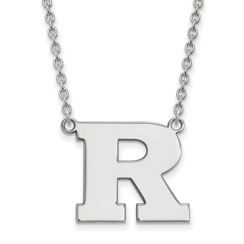 Sterling Silver LogoArt Rutgers Large Pendant w/Necklace