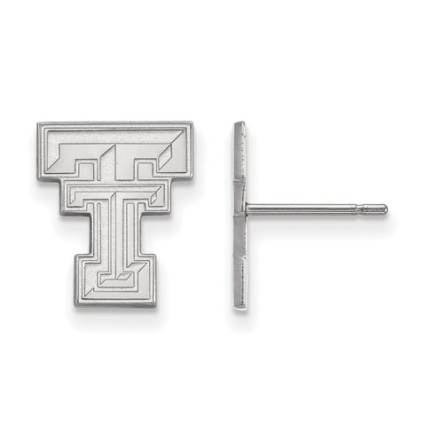 10k White Gold Logoart Texas Tech University Red Raiders Small Post Earrings