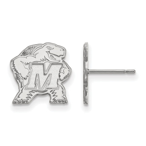 10k White Gold Logoart Maryland Small Post Earrings