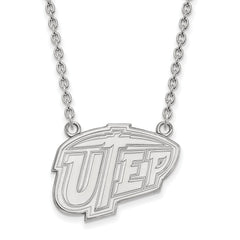 Sterling Silver LogoArt The U of Texas at El Paso Large Pendant w/Necklace
