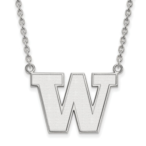 Sterling Silver LogoArt University of Washington Large Pendant w/Necklace