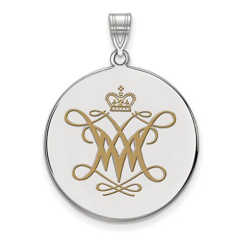 Sterling Silver LogoArt William And Mary XL Enamel Disc Pendant