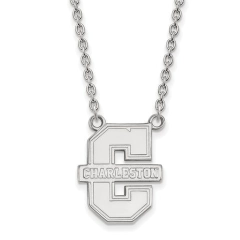 Sterling Silver LogoArt College of Charleston Large Pendant w/Necklace
