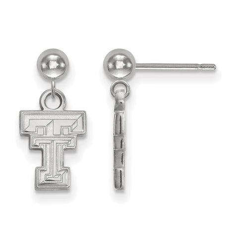 Sterling Silver LogoArt Texas Tech University Earrings Dangle Ball