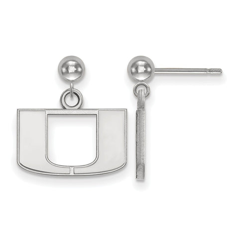 Sterling Silver LogoArt University of Miami Earrings Dangle Ball