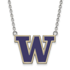Sterling Silver LogoArt U of Washington Large Enamel Pendant w/Necklace