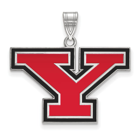 Sterling Silver LogoArt Youngstown State University Large Enamel Pendant