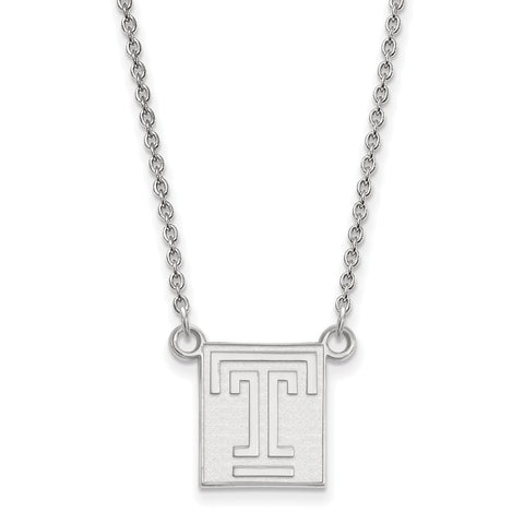 Sterling Silver LogoArt Temple University Small Pendant w/Necklace