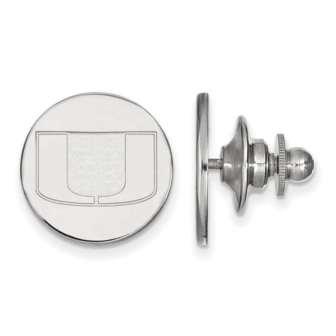 Sterling Silver LogoArt University of Miami Lapel Pin