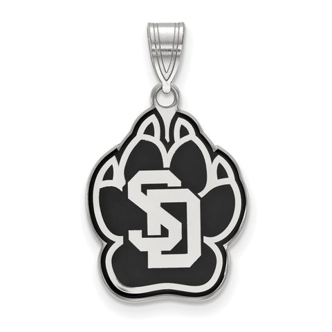 Sterling Silver LogoArt University of South Dakota Large Enamel Pendant