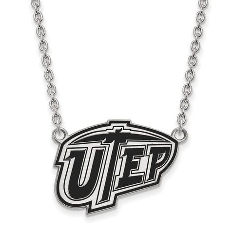 Sterling Silver LogoArt The U of Texas at El Paso Lg Enl Pendant w/Necklace