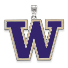Sterling Silver LogoArt University of Washington XL Enamel Pendant