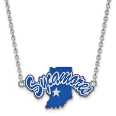 Sterling Silver LogoArt Indiana State University Large Enl Pend w/Necklace