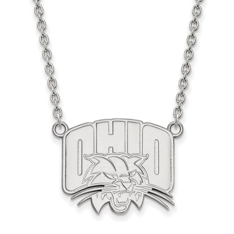 Sterling Silver LogoArt Ohio University Large Pendant w/Necklace