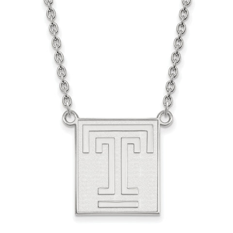 Sterling Silver LogoArt Temple University Large Pendant w/Necklace