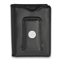Sterling Silver LogoArt University of North Carolina Black Leather Wallet