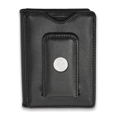 Sterling Silver LogoArt Oklahoma Black Leather Money Clip Wallet