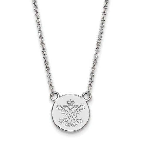 Sterling Silver LogoArt William And Mary Small Disc Pendant Necklace