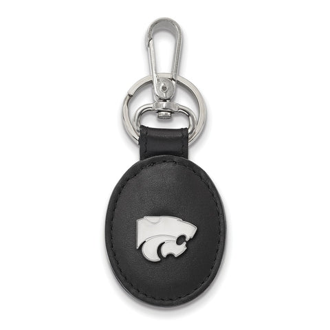 Sterling Silver LogoArt Kansas State University Blk Leather Oval Key Chain