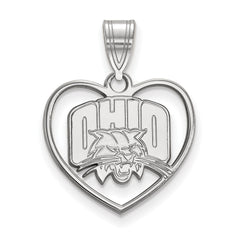 Sterling Silver LogoArt Ohio University Pendant in Heart