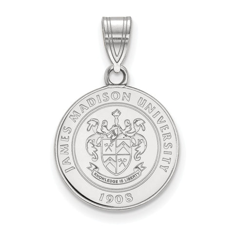 Sterling Silver LogoArt James Madison University Medium Crest Pendant