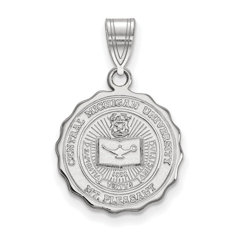 Sterling Silver LogoArt Central Michigan University Medium Crest Pendant