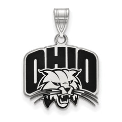 Sterling Silver LogoArt Ohio University Medium Enamel Pendant