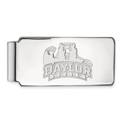 10k White Gold Logoart Baylor University Bears Money Clip
