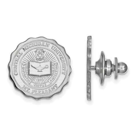 Sterling Silver LogoArt Central Michigan University Crest Lapel Pin
