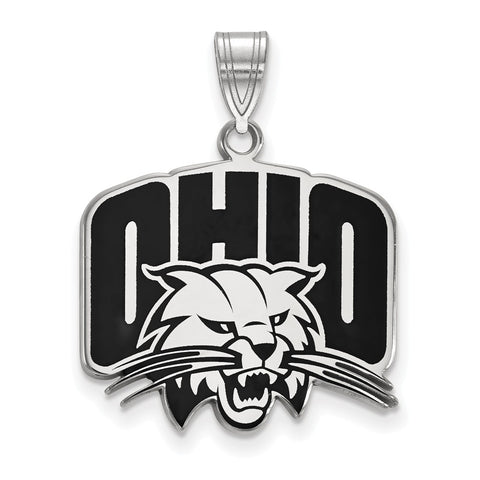 Sterling Silver LogoArt Ohio University Large Enamel Pendant