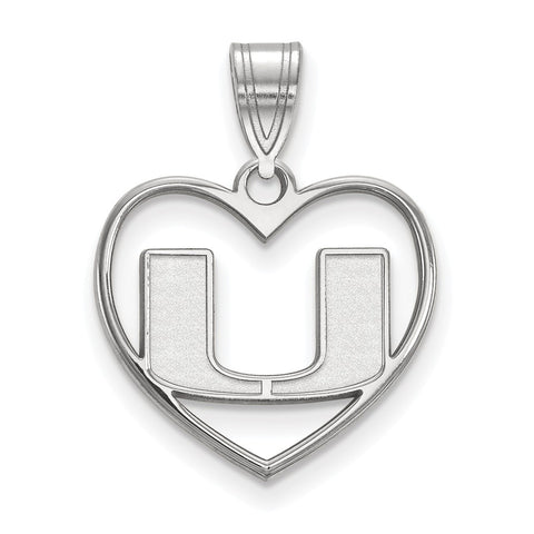 Sterling Silver LogoArt University of Miami Pendant in Heart
