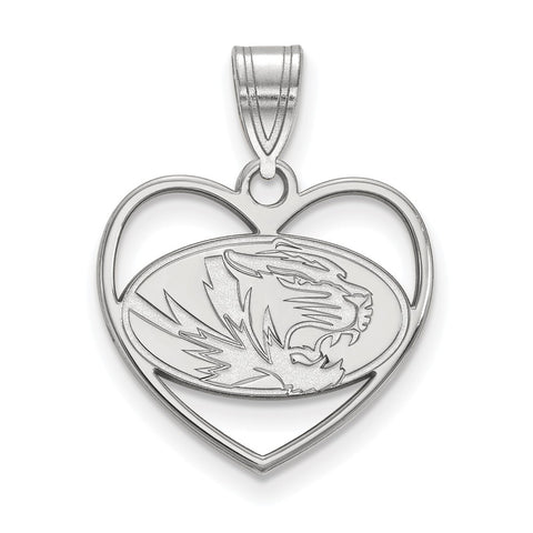 Sterling Silver LogoArt University of Missouri Pendant in Heart