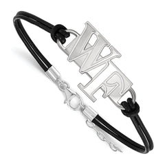 Sterling Silver LogoArt Wake Forest University Large Center Leather Bracele