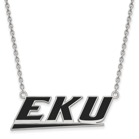 Sterling Silver LogoArt Eastern Kentucky U Large Enamel Pendant w/Necklace