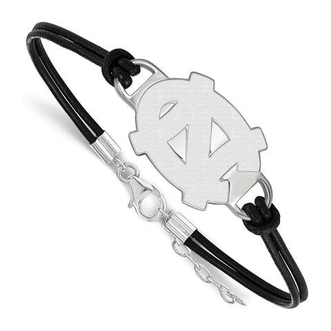 Sterling Silver LogoArt U of North Carolina Large Center Leather Bracelet