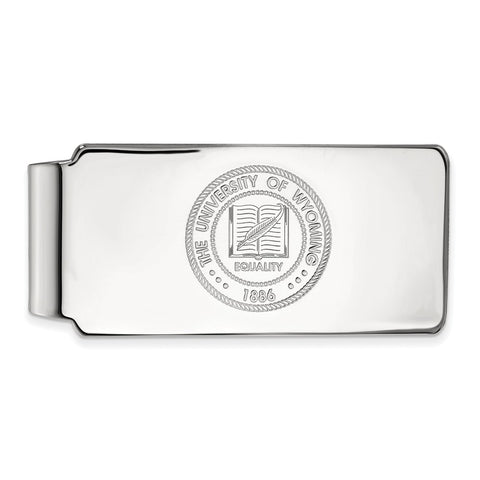 10k White Gold Logoart The University Of Wyoming Cowboys Money Clip Crest