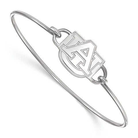Sterling Silver LogoArt Auburn University Medium Ctr Wire Bangle