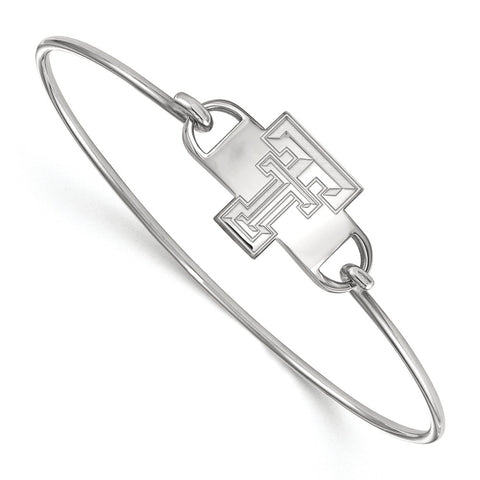 Sterling Silver LogoArt Texas Tech University Small Ctr Wire Bangle