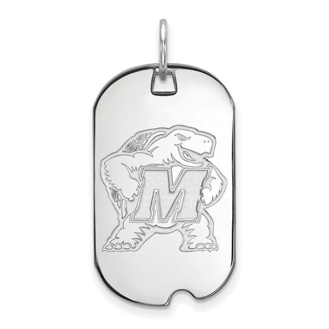 10k White Gold Logoart Maryland Small Dog Tag